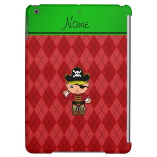 Personalized name pirate red argyle iPad air covers
