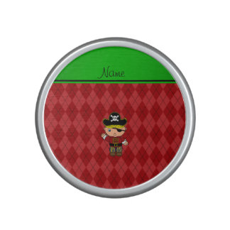 Personalized name pirate red argyle speaker