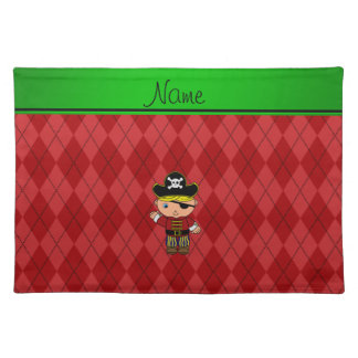 Personalized name pirate red argyle place mats