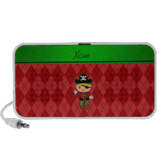 Personalized name pirate red argyle laptop speaker