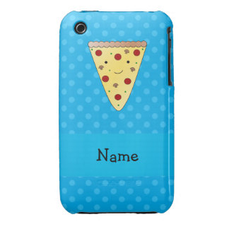 Personalized name pizza blue polka dots Case-Mate iPhone 3 cases