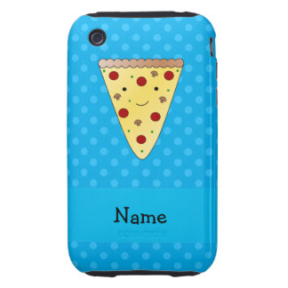 Personalized name pizza blue polka dots tough iPhone 3 cases