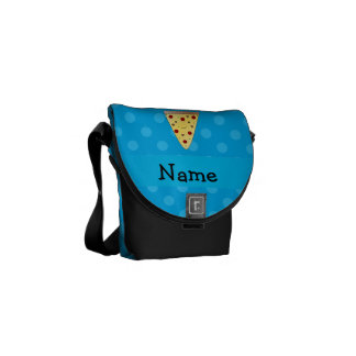 Personalized name pizza blue polka dots messenger bags