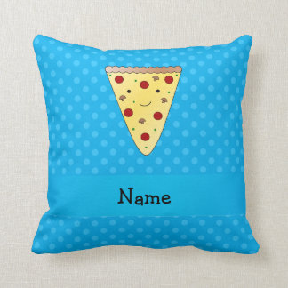 Personalized name pizza blue polka dots pillow