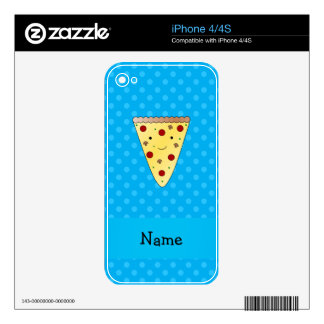 Personalized name pizza blue polka dots skins for iPhone 4S