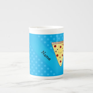 Personalized name pizza blue polka dots porcelain mugs