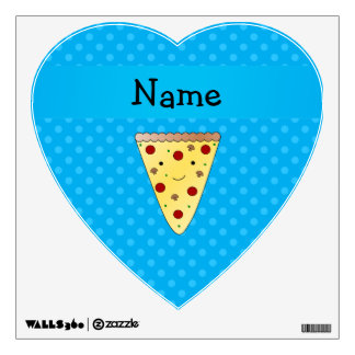 Personalized name pizza blue polka dots room graphics