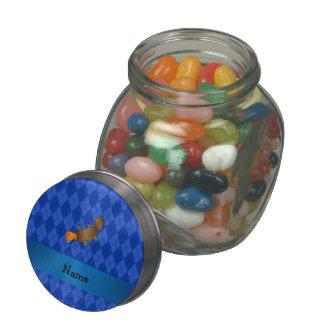 Personalized name platypus blue argyle glass jars