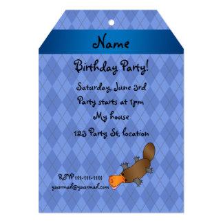 Personalized name platypus blue argyle custom invite
