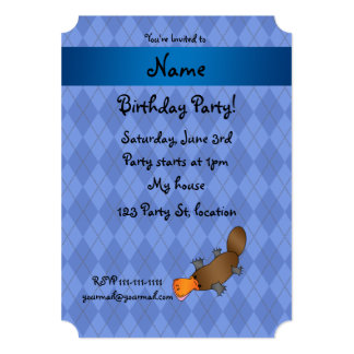 Personalized name platypus blue argyle personalized announcement