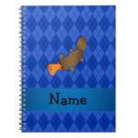 Personalized name platypus blue argyle journals