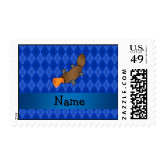 Personalized name platypus blue argyle stamp