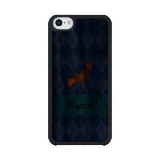 Personalized name platypus blue argyle carved® walnut iPhone 5C case