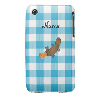 Personalized name platypus blue checkers iPhone 3 Case-Mate case