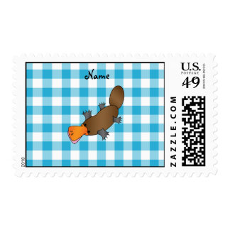 Personalized name platypus blue checkers postage