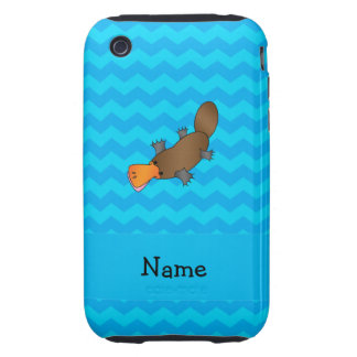 Personalized name platypus blue chevrons tough iPhone 3 case