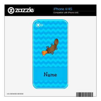 Personalized name platypus blue chevrons decals for the iPhone 4S