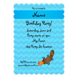 Personalized name platypus blue chevrons custom invitation