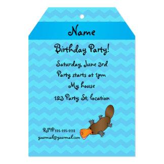 Personalized name platypus blue chevrons invitation