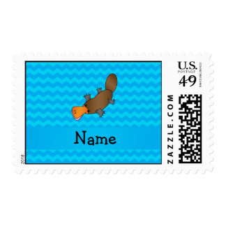 Personalized name platypus blue chevrons postage stamp