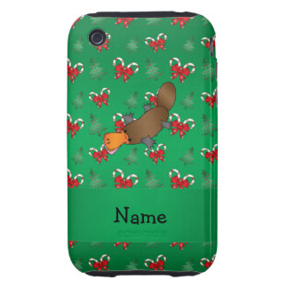 Personalized name platypus green candy canes bows iPhone 3 tough cover