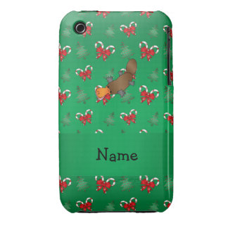 Personalized name platypus green candy canes bows Case-Mate iPhone 3 case