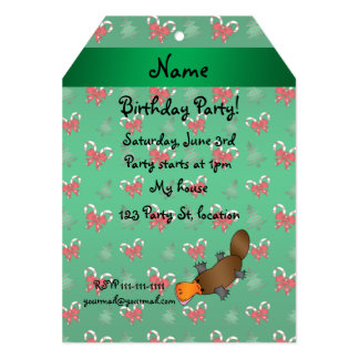 Personalized name platypus green candy canes bows invitation