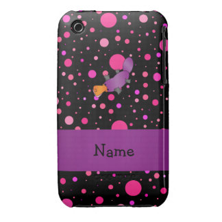 Personalized name platypus pink polka dots Case-Mate iPhone 3 cases