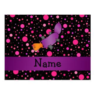 Personalized name platypus pink polka dots postcard