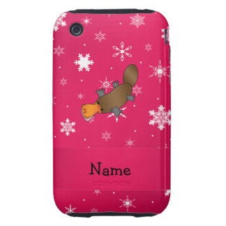 Personalized name platypus pink snowflakes iPhone 3 tough cover
