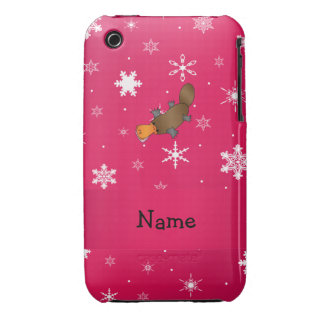 Personalized name platypus pink snowflakes Case-Mate iPhone 3 cases