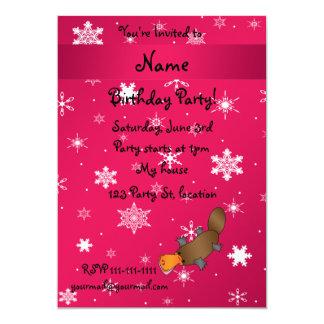 Personalized name platypus pink snowflakes custom invitations