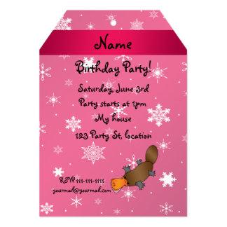 Personalized name platypus pink snowflakes custom invitation