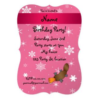 Personalized name platypus pink snowflakes custom invites