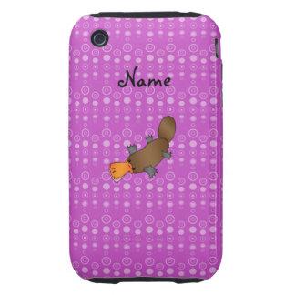 Personalized name platypus purple bubbles iPhone 3 tough case