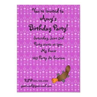 Personalized name platypus purple bubbles custom invites