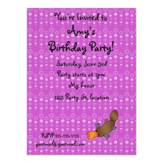 Personalized name platypus purple bubbles personalized invite