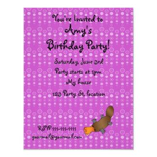 Personalized name platypus purple bubbles invitation