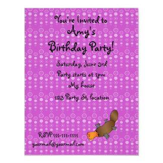 Personalized name platypus purple bubbles invites