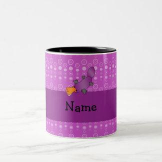 Personalized name platypus purple bubbles Two-Tone coffee mug
