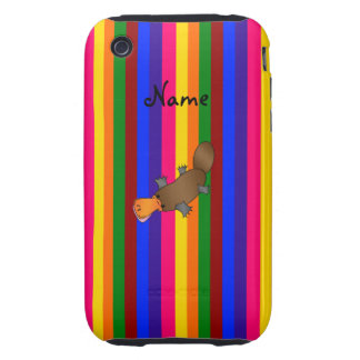 Personalized name platypus rainbow stripes iPhone 3 tough cover
