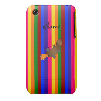 Personalized name platypus rainbow stripes iPhone 3 Case-Mate cases