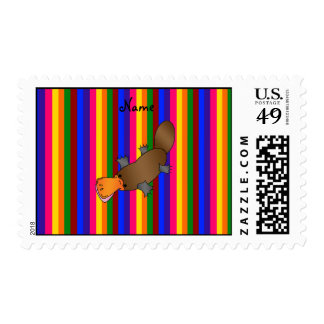 Personalized name platypus rainbow stripes stamps