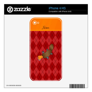 Personalized name platypus red argyle iPhone 4 decal