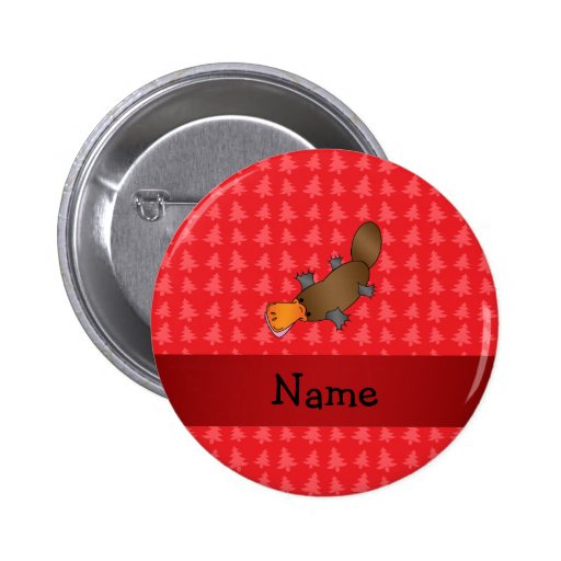 Personalized name platypus red christmas trees button