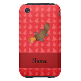 Personalized name platypus red christmas trees tough iPhone 3 covers