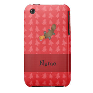 Personalized name platypus red christmas trees iPhone 3 covers