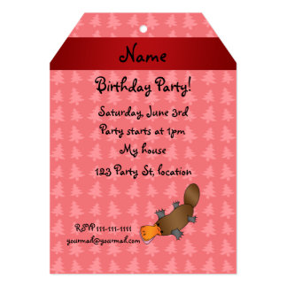 Personalized name platypus red christmas trees invite