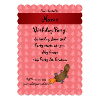 Personalized name platypus red christmas trees custom invite