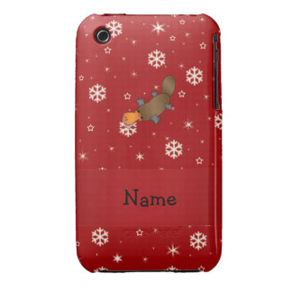 Personalized name platypus red snowflakes iPhone 3 cover